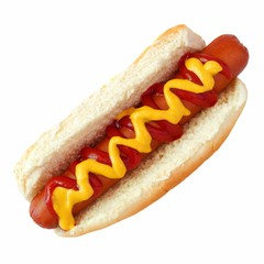 Hot dog with mustard and ketchup, top view isolated on a white background
