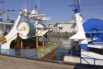 Trawlers in the fishing harbor of La Turballe, a commune in the Loire-Atlantique department in western France.