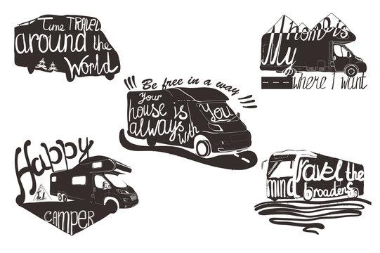 illustration of set lettering caravans with quote for printable. Vintage design with camp travel for logos emblem.