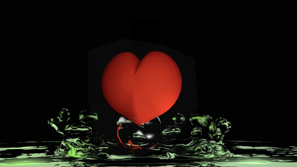Heart with green water