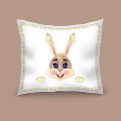 Pillow decorate cartoon bunny rabbit on blue background.  Editable vector template.