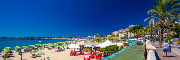 Beach at Sanremo promenade, Mediterian Coast, Italian riviera