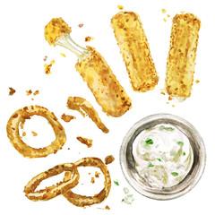 Deep fried snacks. Watercolor Illustration.