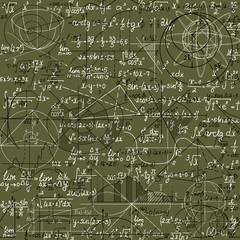 Math vector seamless pattern made of handwritten formulas on green background, shuffled together