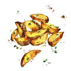 Potato wedges. Watercolor Illustration.