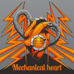 Mechanical Heart on Background