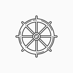 Image of ship steering wheel on white background. Linear image.