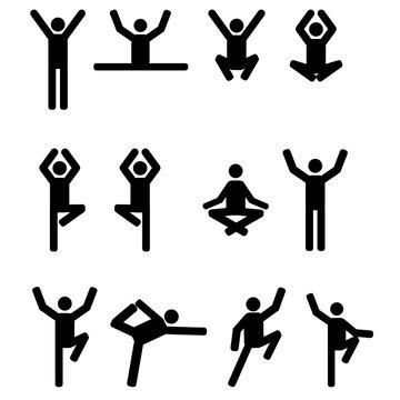 Stick figures set in yoga pose icon - vector illustration