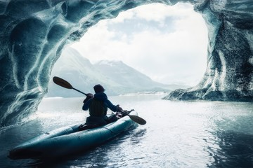 Kayaking among Alaskan Glaciers Wall mural