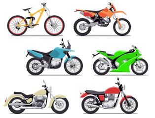 Bike and motorbike flat vector illustration set. Flat vector illustration. Isolation on white background