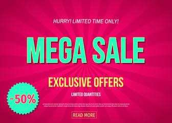 Mega sale  banner in pink color.