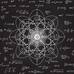 Scientific math vector seamless pattern with physical and mathematical formulas, calculations, equations. Handwritten geometry figures on grey chalkboard background
