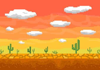 Pixel art desert seamless background.