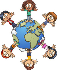 Cartoon kids standing around planet earth. Vectro clip art illustration with simple gradients. Each on a separate layer.