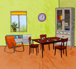 Color vector illustration of modern dining room with furniture: armchair, table, chairs, cupboard, window, pots, clock. Watercolor texture.