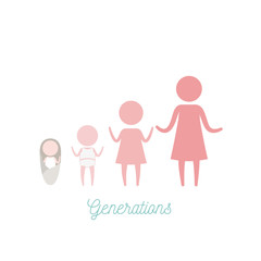white background with pink color silhouette pictogram female generations people vector illustration