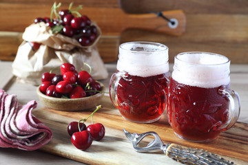 Papiers peints Biere, Cidre Light fruit craft beer and cherry, rustic style