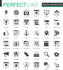 Black classic Digital Marketing web icons set.