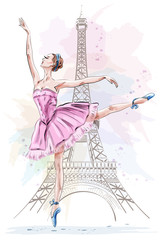 Beautiful ballerina posing and dancing on eiffel tower background. Hand drawn girl. Ballet dancer. Sketch. Vector illustration.
