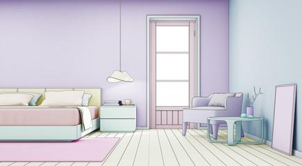 Sketch design of bedroom and living room in modern house - Interior 3D rendering