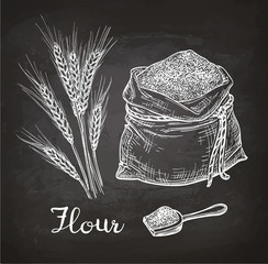 Chalk sketch of wheat and bag of flour.