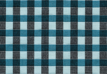 Bengaline, cotton texture background. Plaid material, turquoise