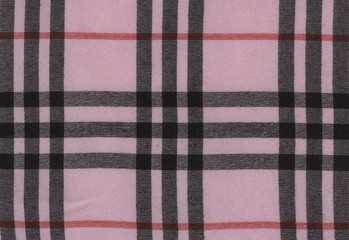Plaid material, pink with black. Bengaline, cotton texture background