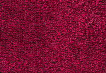 Terrycloth red, closeup fabric texture background. High resolution