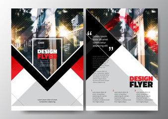 Minimal Modern Poster Brochure Flyer design Layout, Red black white color, vector template in A4 size