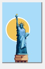 Architecture monument Statue of Liberty poster vector