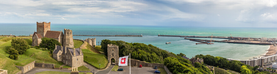 View on Dover castle in summer