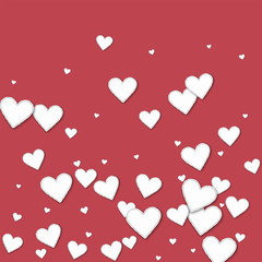 Cutout paper hearts. Bottom gradient on crimson background. Vector illustration.