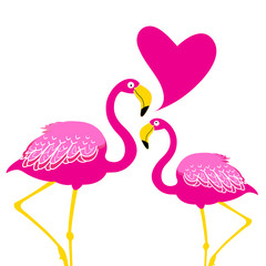 Festive card with pink flamingos in love