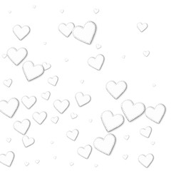 Cutout white paper hearts. Abstract mess with cutout white paper hearts on white background. Vector illustration.