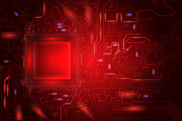 Central Processing Unit (CPU) digital tech red mainboard circuit background, vector illustration EPS 10
