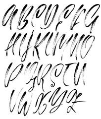 Hand drawn elegant calligraphy font. Modern brush lettering. Grunge style alphabet. Vector illustration.