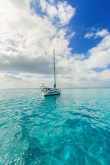The sailing boats  and Beautiful sea in Moorae Island at Tahiti PAPEETE, FRENCH POLYNESIA.