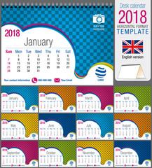 Desk triangle calendar 2018 colorful template. Size: 21 cm x 15 cm. Format A5. Vector image. English version