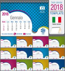 Desk triangle calendar 2018 colorful template. Size: 21 cm x 15 cm. Format A5.  Vector image. Italian version