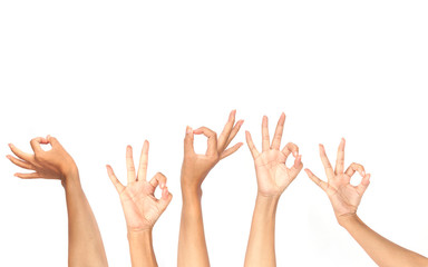 Woman hands show Ok symbol. Agreement concept with copy space