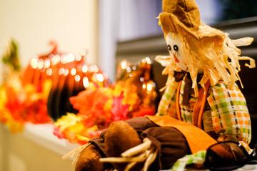 Autumn scarecrow display