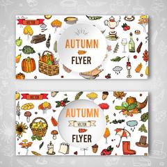 Hand drawn doodle Autumn icons set. Vector illustration. Fall symbols collection. Cartoon seasonal card template elements: turkey, harvest, vegetables, pumpkin pie, leaves, trees, hot tea, mushrooms
