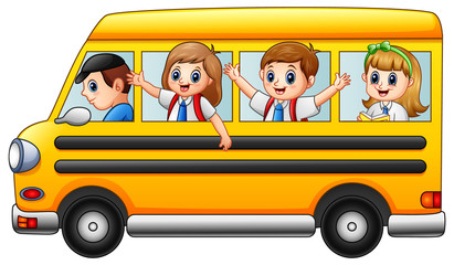Happy school kids riding a school bus