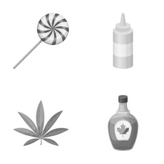 sweet, drug and other monochrome icon in cartoon style.cooking, Canada icons in set collection.