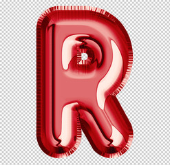 Brilliant balloon font letter R made of realistic 3d helium red balloon with Clipping Path ready to use. For your balloon letter collection design Birthday Anniversary,New year,Holiday, Any occasional
