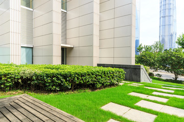 Modern urban architecture and green plants in Shanghai