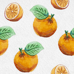 watercolor orange seamless summer pattern