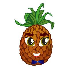 Cheerful cartoon pineapple raising his hands