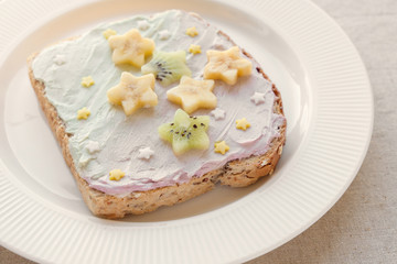 star unicorn creamcheese toast breakfast, fun  food art for kids