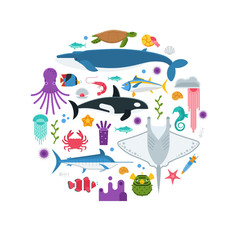Underwater animals and sea creatures background stylized in circle. Ocean and marine fishes and other aquatic life collection. Concept card or hero image with ocean inhabitants vector illustration.